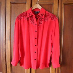 Vintage 100% Silk Red Button Up 10
